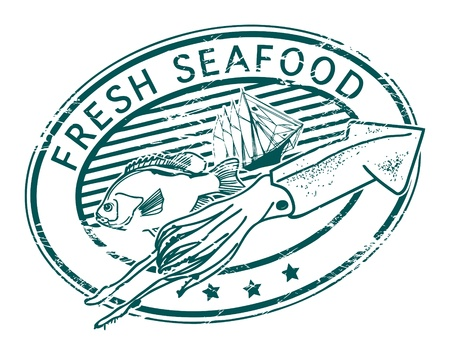 Grunge rubber stamp with fish shape and the word Fresh Seafood written inside Vector