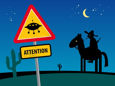 Ufo sign in Mexico desert night with cactus and horse rider Vector