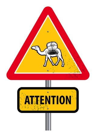 Triangular road sign with warning for crossing camels Vector
