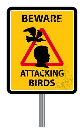 Traffic warning sign with text Beware, Attacking birds Stock Vector - 14539621