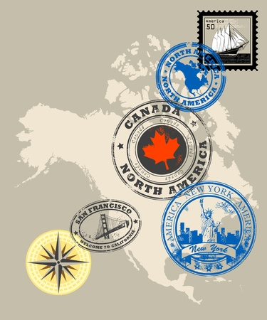 canada stamp: Set of rubber stamps of theme North America