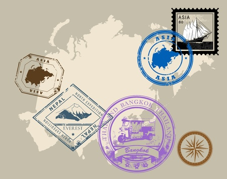 Set of rubber stamps of theme Asia Illustration