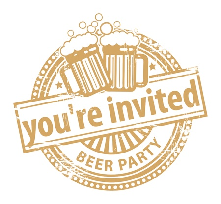 invited: Grunge rubber stamp, with the Beer Mugs and text You re Invited Beer Party written inside
