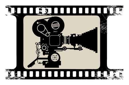 Film caméra de cinéma dans un cadre bande de film