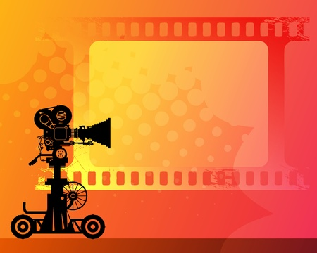 Abstract background with white frame and movie camera Stock Vector - 14561965