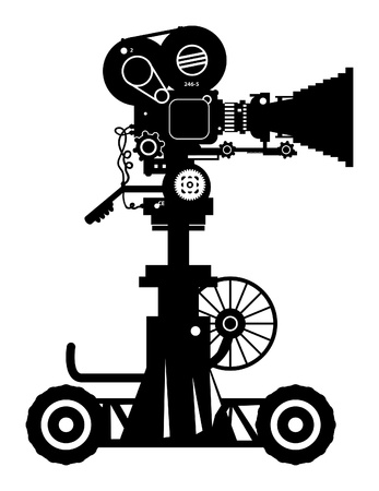 cam: Retro professional cinema film camera Illustration