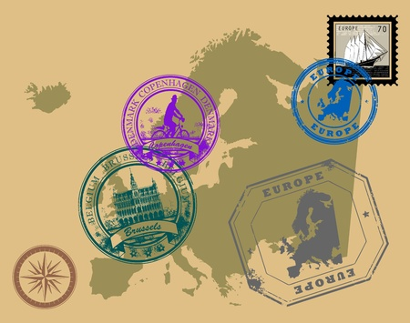 Set of rubber stamps of theme Europe Vector