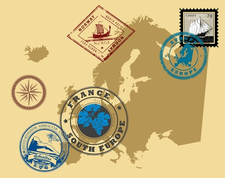 Set of rubber stamps of theme Europe Stock Vector - 14561972
