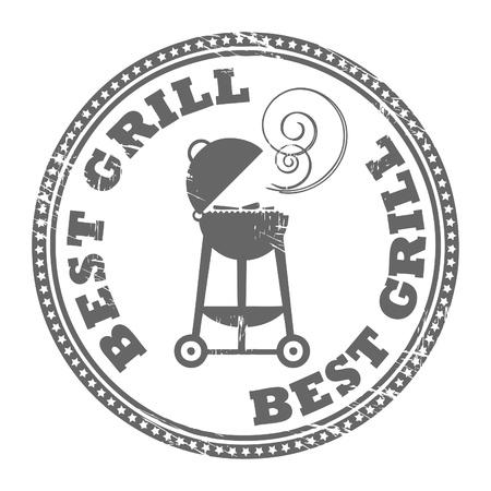 grill meat: R�sum� tampon en caoutchouc grunge avec le Grill meilleur mot �crit � l'int�rieur du timbre Illustration