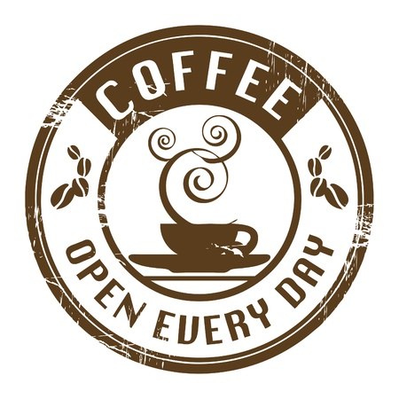 every: Brown grunge stamp with coffee cup and the text coffee written inside