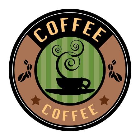 vintage cafe: Etichetta con tazza di caff� Vettoriali