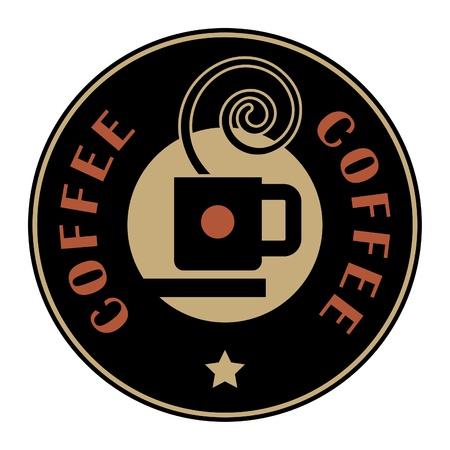 druckerei: Brown Label mit Kaffeetasse und den Text geschrieben Kaffee im Inneren