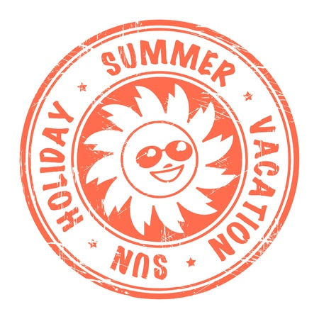 Grunge stamp with the Summer Sun smile and words Vacation, Holiday, Sun written inside Vector