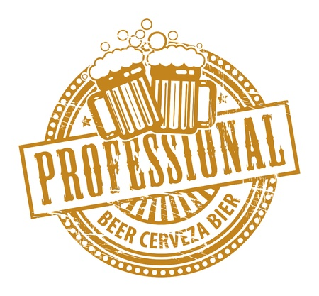 cheers: Grunge rubber stamp, with the Beer Mugs and text Professional written inside