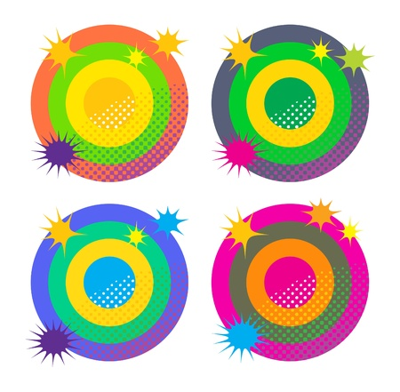 Abstract color circles with star burst
