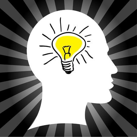Lamp in the head Stock Vector - 14600091