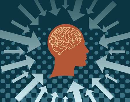 brain game: Human head with the brain and the arrows