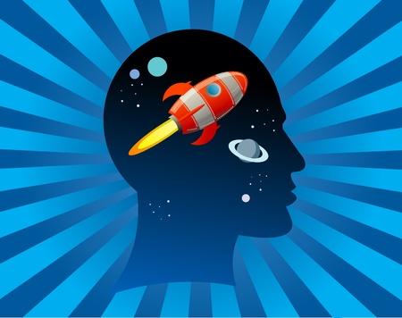 mente humana: Rocket mosca en la cabeza
