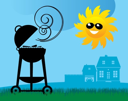 charcoal grill: BBQ and Sun Illustration
