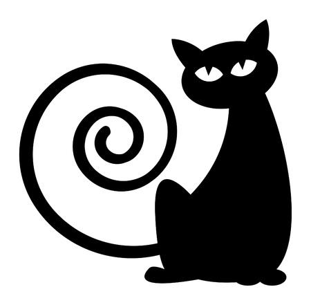 zwart wit tekening: Silhouet van de Kat Stock Illustratie