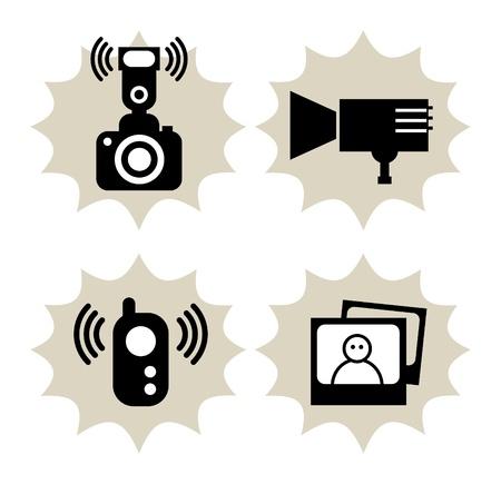 camera flash: Lot of photography icon Illustration