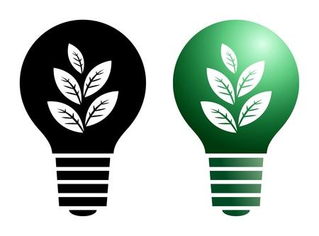 conceptual bulb: Green bulb symbol