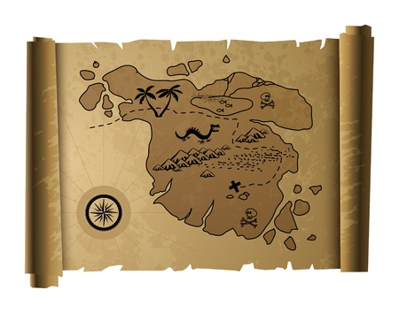 carte tr�sor: Vieux carte au tr�sor Illustration