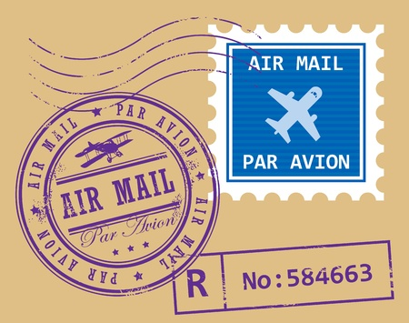 air mail: et of air mail symbols Illustration