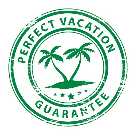 Grunge rubber stamp with palm trees and the text Perfect Vacation written inside the stamp Vector