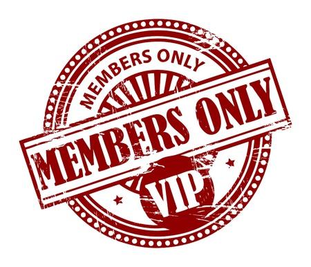 Grunge rubberen stempel met de woorden: Members Only, VIP binnen