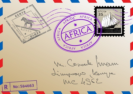 Air mail envelope with stamps and letters Vector