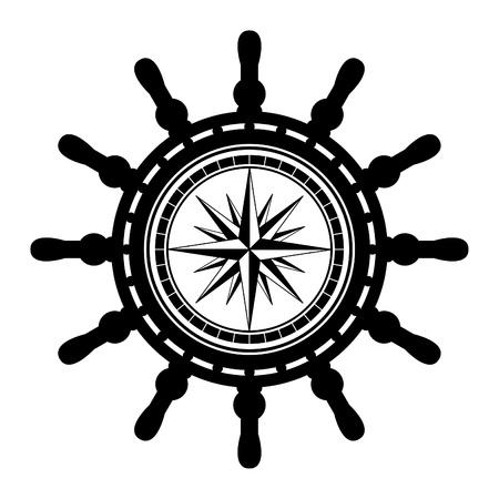 timone: Ship sterzo abstract ruote Vettoriali