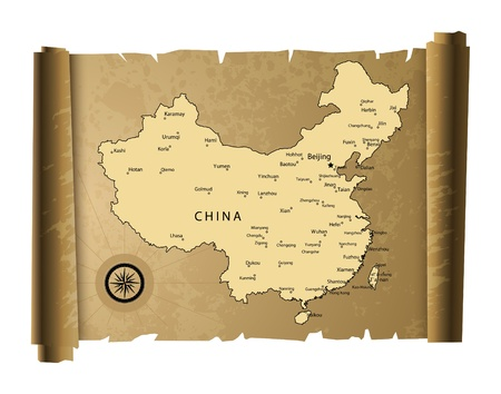 south east: Old paper China map