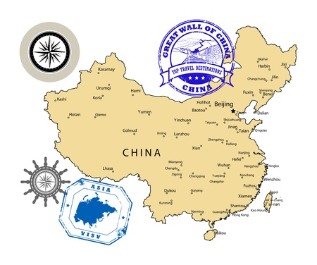 map of china: Set of stamps, China theme Illustration