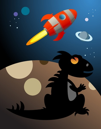 Dino and Rocket in space Stock Vector - 14624751