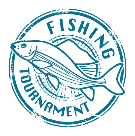Grunge rubber stamp with fish shape and the text Fishing Tournament written inside Vector