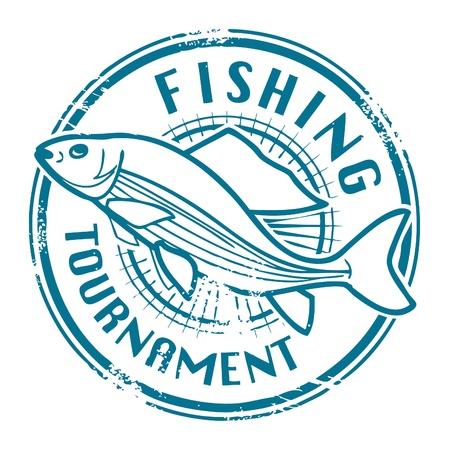 Grunge sello de goma con forma de pez y el Torneo de Pesca de texto escrito en el interior