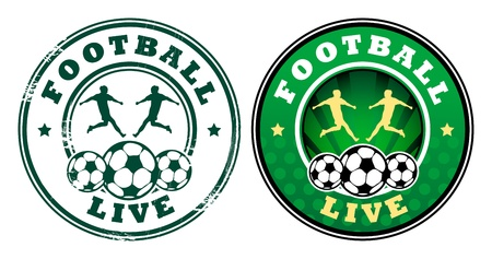 Green grunge rubber stamp with football players and the text football written inside the stamp  Vector