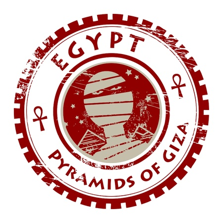 Grunge rubber stamp with mummy and text Pyramids of Giza Vector