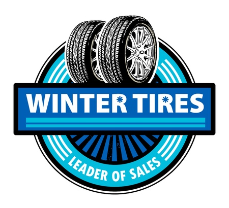 Sticker with the tires and word Winter Tires written inside Vector