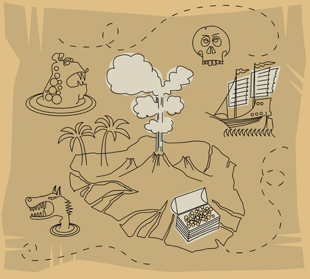 withered: Treasure map set Illustration