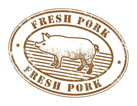 fresh meat: Grunge rubber stamp with pig silhouette and the text fresh pork written inside