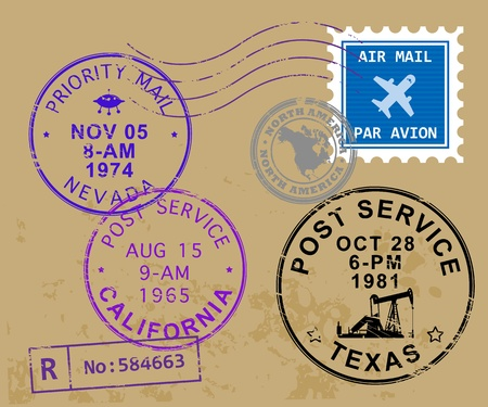 postmark: Set of USA post stamp symbols Illustration