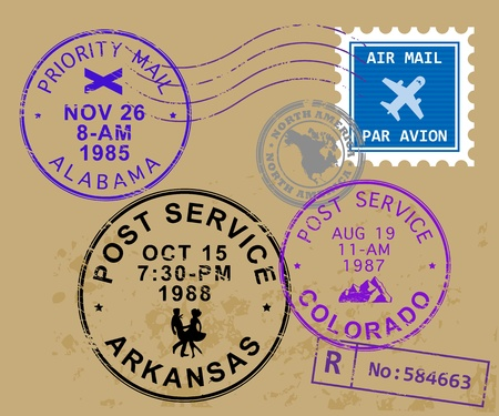 postal office: Set of USA post stamp symbols Illustration