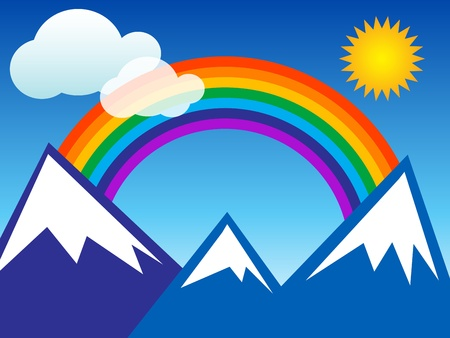 Summer landscape with rainbow and mountain Vector