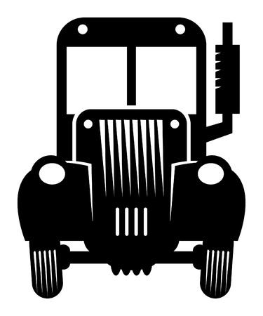 tractor trailer: Retro tractor Illustration