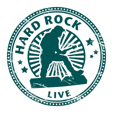 rubber band: Grunge rubber stamp with text hard rock written inside Illustration