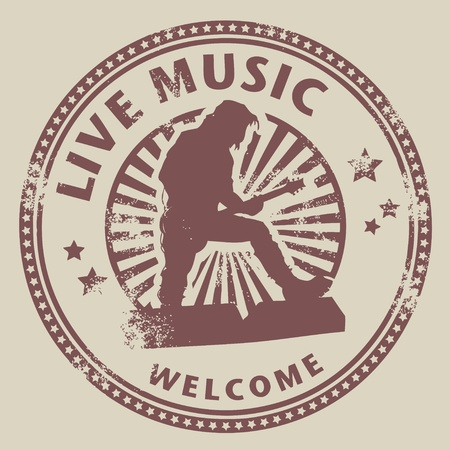 music emblem: Grunge rubber stamp with text live music written inside