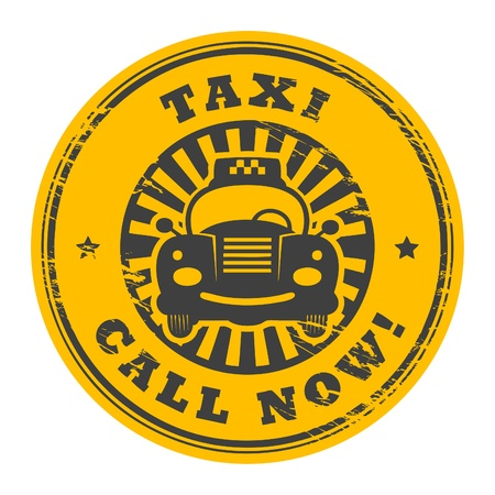 Abstract grunge rubber stamp with the taxi cab and the words Call Now written inside the stamp Vector