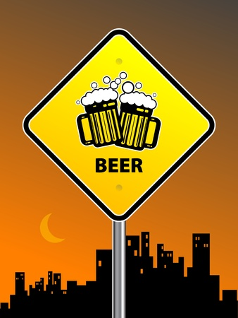 Beer sign on urban background Vector